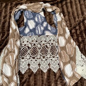 chenille and lace sleeveless reversible cardi/wrap